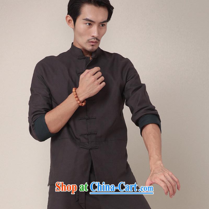 Fujing Qipai Tang China wind national stylish kung fu shirt cotton Ma Long-Sleeve Chinese men and Han-chinese-buckle personalized spring jackets 369 dark gray XL