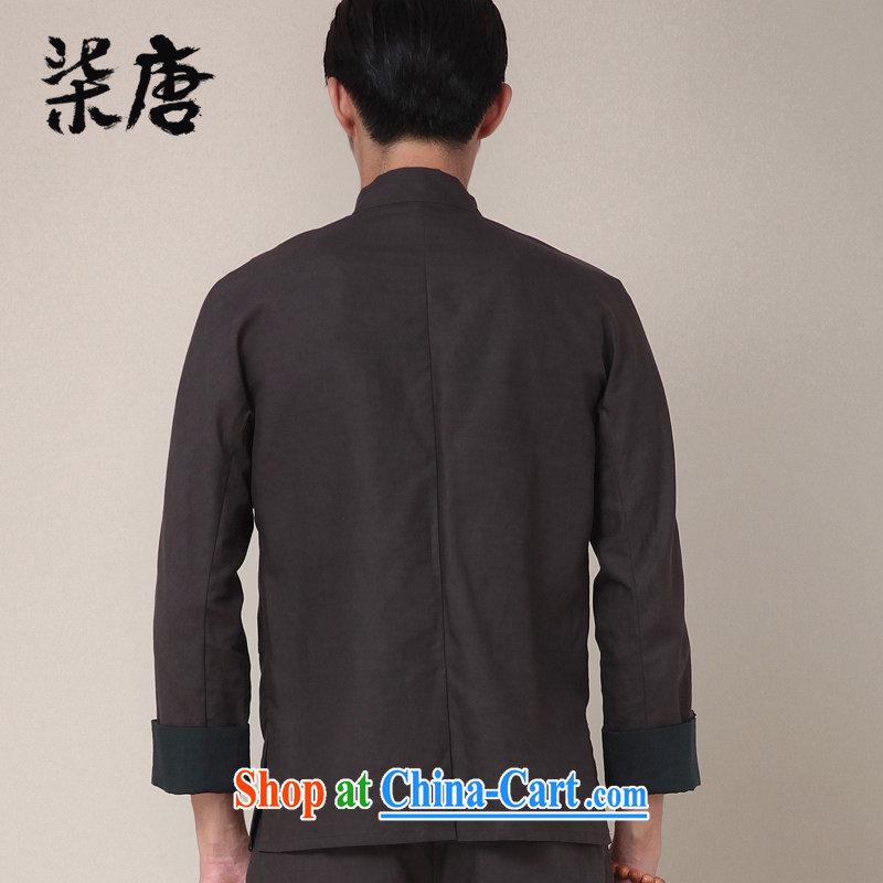 Fujing Qipai Tang China wind national stylish kung fu shirt cotton Ma Long-Sleeve Chinese men and Han-chinese-tie personality and jackets 369 dark gray XL, Fujing Qipai Tang (Design seventang), online shopping