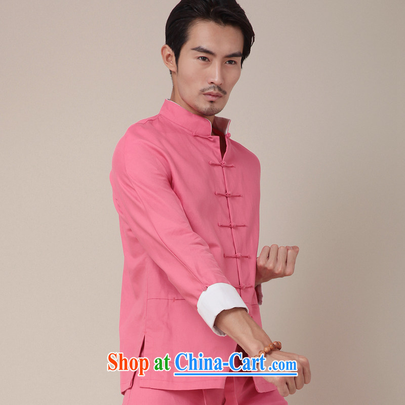 Fujing Qipai Tang national costumes improved traditional Kung Fu T-shirt men's cotton Ma Long-Sleeve Chinese Chinese color men's shirts and 374 peach XL