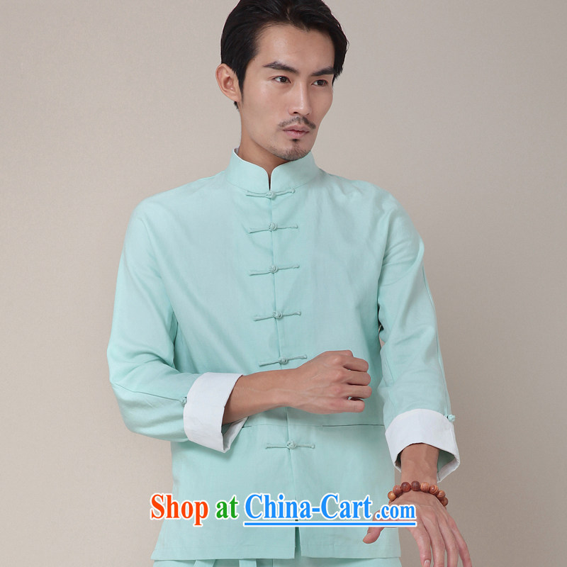 Fujing Qipai Tang China Kungfu shirt national cotton Ma Long-Sleeve Mock Chinese Spring jacket Chinese men's national costume 2014 original 377 mint green M