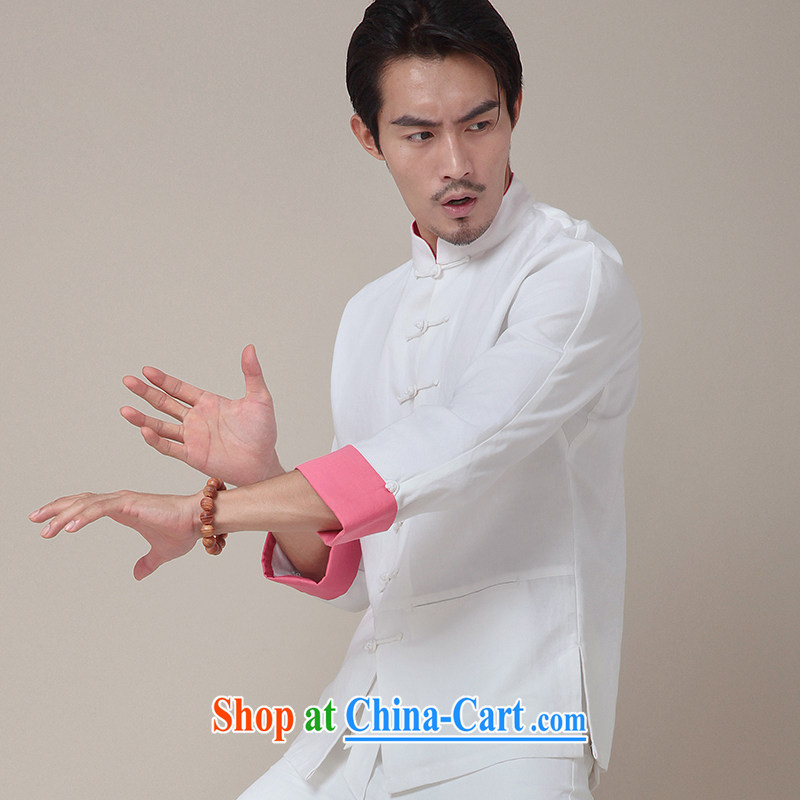 Fujing Qipai Tang China wind kung fu T-shirt cotton Ma Tang with long-sleeved-tie and collar shirt Chinese Choo, men's T-shirt national jacket 2014 re 379 white peach sleeved XL