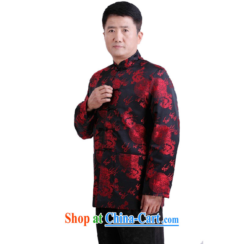 Her cabinet this new men's autumn and winter in replacing older, for casual shirt Tang replace XL Dad relaxed jacket holiday dress - 110 black 4XL