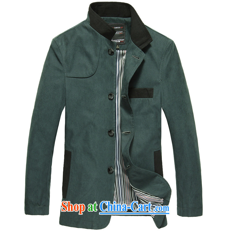 Wei, Jin grace autumn 2014 the new male Tang jackets Tang fitted suit jacket coat men's China wind jacket 6611 Peacock Blue XXL