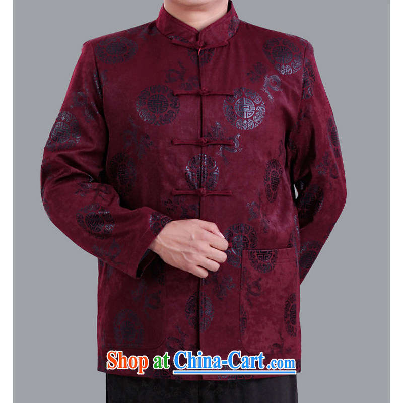 The Dili shi kai 2015 spring new Chinese men and fathers with older men and Chinese festivals and gave birth to a life clothing Chinese jacket A 13,136 190 purple_cotton