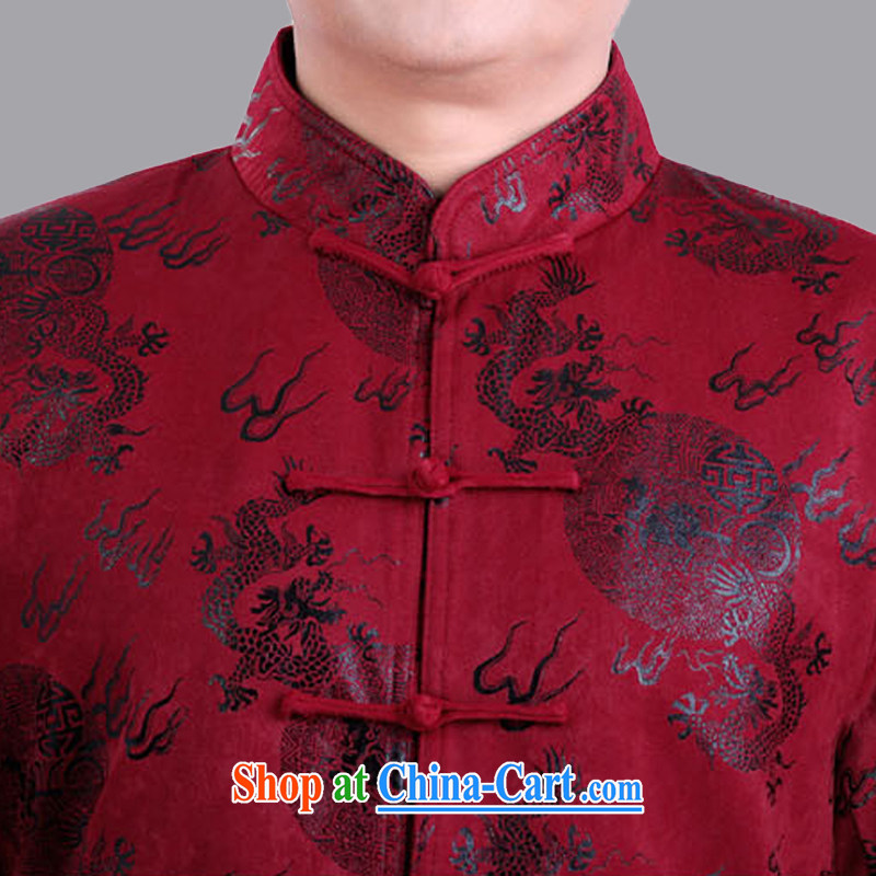 Adam's elderly fall and winter male Chinese thin quilted coat loose long-sleeved Tang jackets men and elderly men fall short on 1282 red 170, spring and autumn, Adam, elderly, and shopping on the Internet