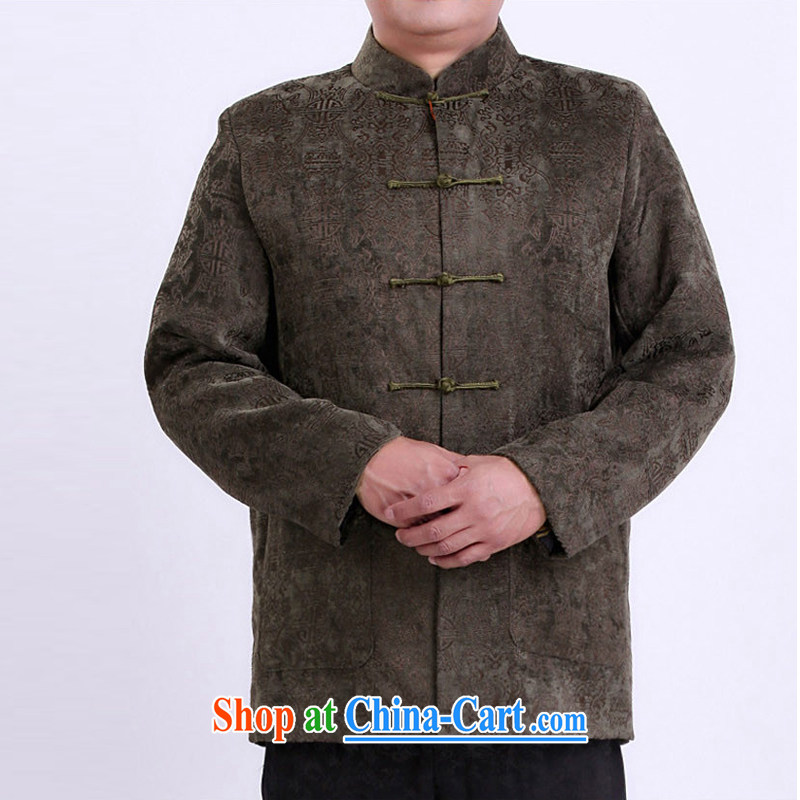 Adam's old 2015 autumn and winter new father superior long-sleeved Tang jackets China wind Chinese, for long-sleeved Tang with autumn and winter clothing old 1339 green tea color 185