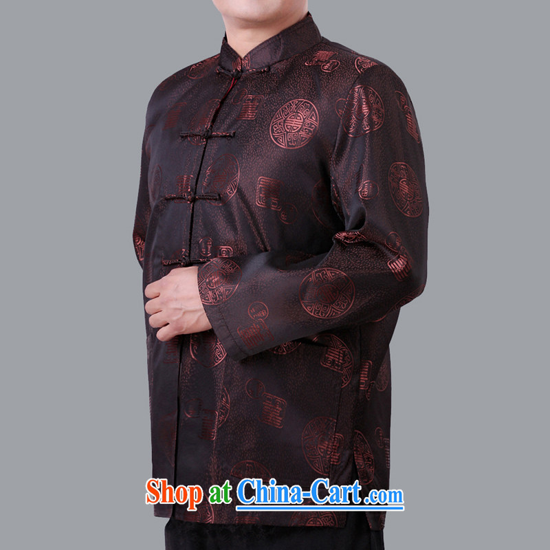 Adam's old winter loose men and Tang jackets men's middle-aged and older and indeed Tang with Chinese men's father had clothing 1335 quilted winter, coffee 180
