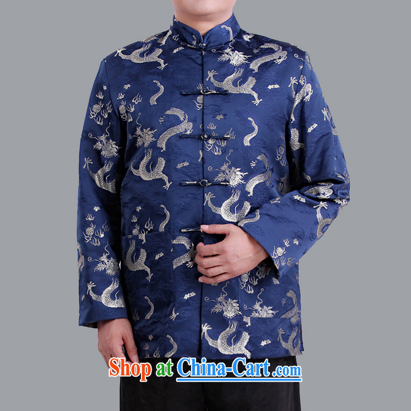 Adam's elderly fall and winter, older men's China wind Dragon men's long-sleeved Tang jackets, for male ethnic wind clothing 1102 blue 180