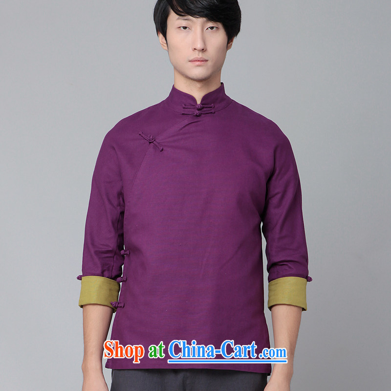 Fujing Qipai Tang China wind Han-man basket Tang Yau Ma Tei with a hard disk onto a collar shirt spring national costumes kung fu T-shirt 389 purple XL