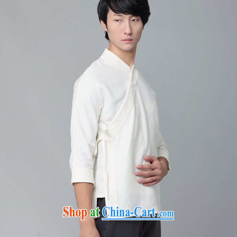 Fujing Qipai Tang improved the service men's cotton the Chinese nation and Chinese wind style kungfu shirt exercises a tight comfortable cynosure autumn new t-shirt 390 white XL