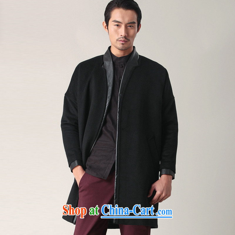 Fujing Qipai Tang China wind Han-collar wool coat so long leather coats the Chinese wind jacket male and cultivating business stylish casual jackets fall short with 02,401 black L