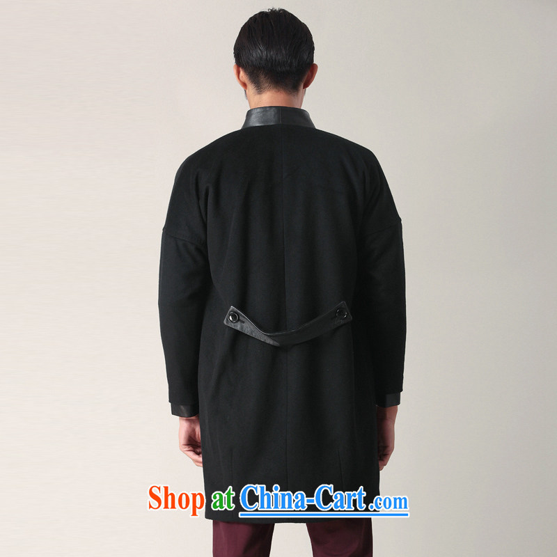 Fujing Qipai Tang China wind Han-collar wool coat so long leather coats the Chinese wind jacket male and cultivating business stylish casual jackets fall short with 02,401 black L, Fujing Qipai Tang (Design seventang), online shopping