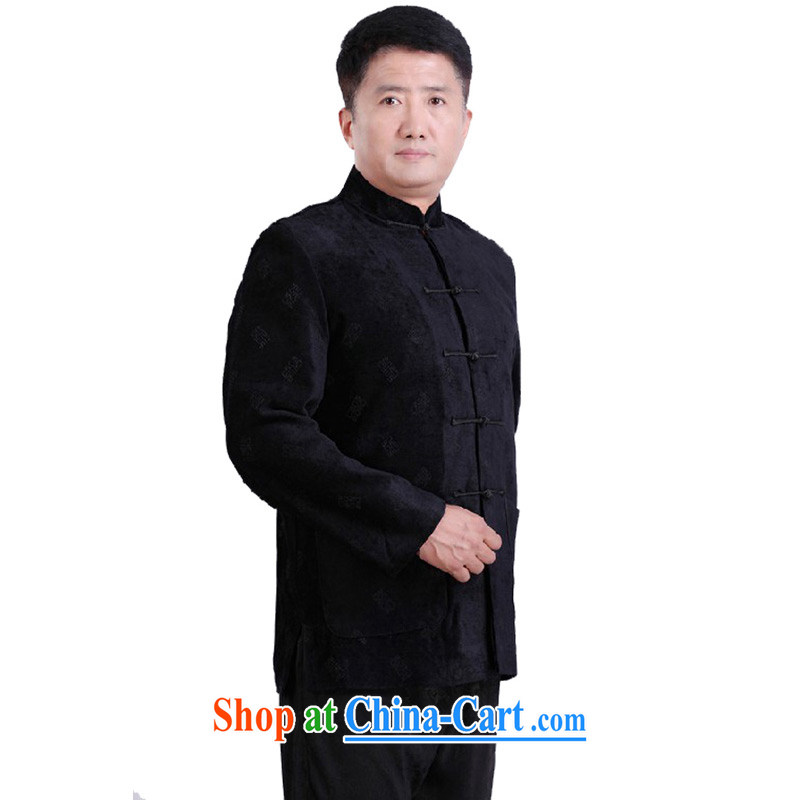 Her cabinet this new middle-aged and older men's autumn and winter clothes Chinese nation for China service retro casual shirt holiday dress father load - 097 black 4XL