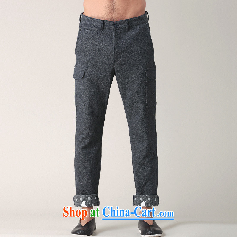 Fujing Qipai Tang not very road China wind stamp pants male and personalized pull pin trousers short pants roll edge tread more pocket pants spring reload 002,013 dark gray XL