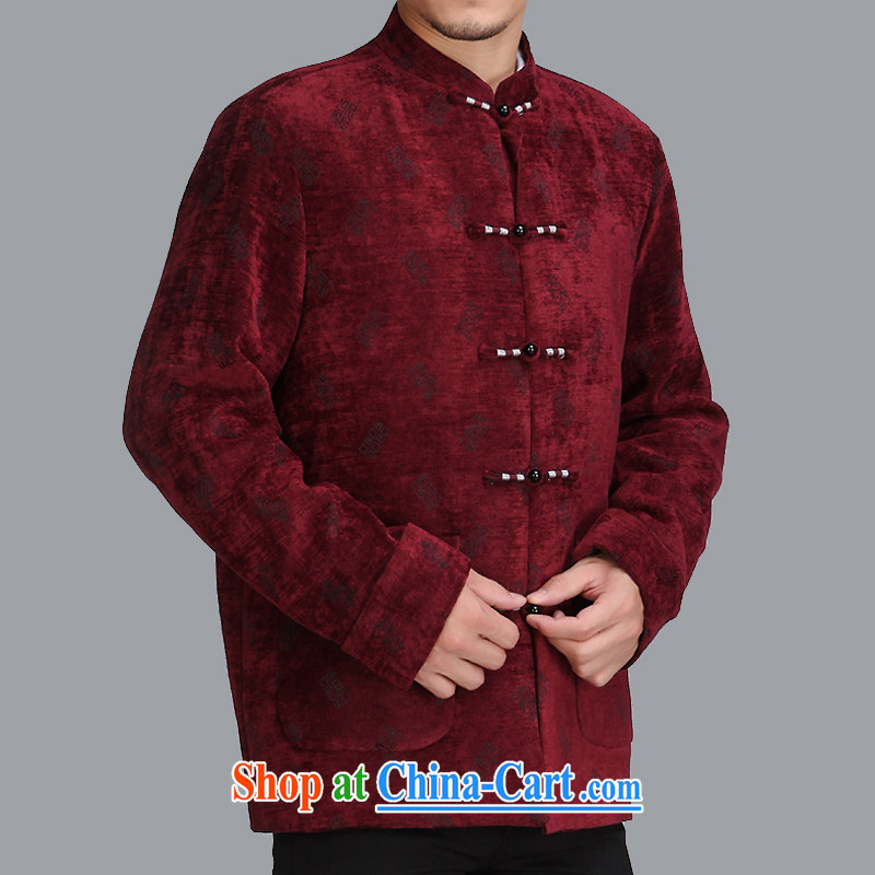 Spring 2015 new stylish middle-aged and older men and Chinese Chinese men's jackets leisure trends and Tang C505 wine red 190 code