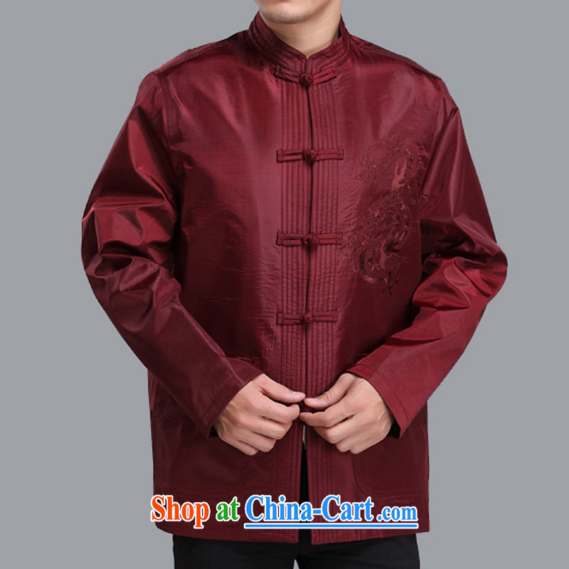 Adam's old 2015 autumn and winter new upmarket old men Tang jackets Solid Color embroidery Dragon male Tang replace M 206 maroon click the 190 code