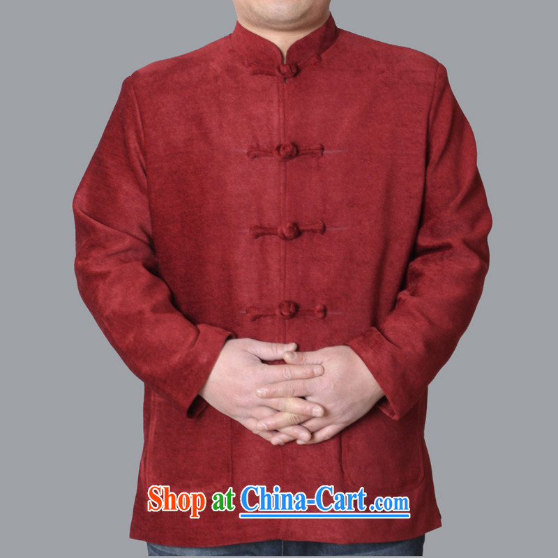 Adam's old 2015 autumn and winter, the older upscale male Chinese Chinese men's jackets leisure Solid Color men's Chinese W 086 red 190 code