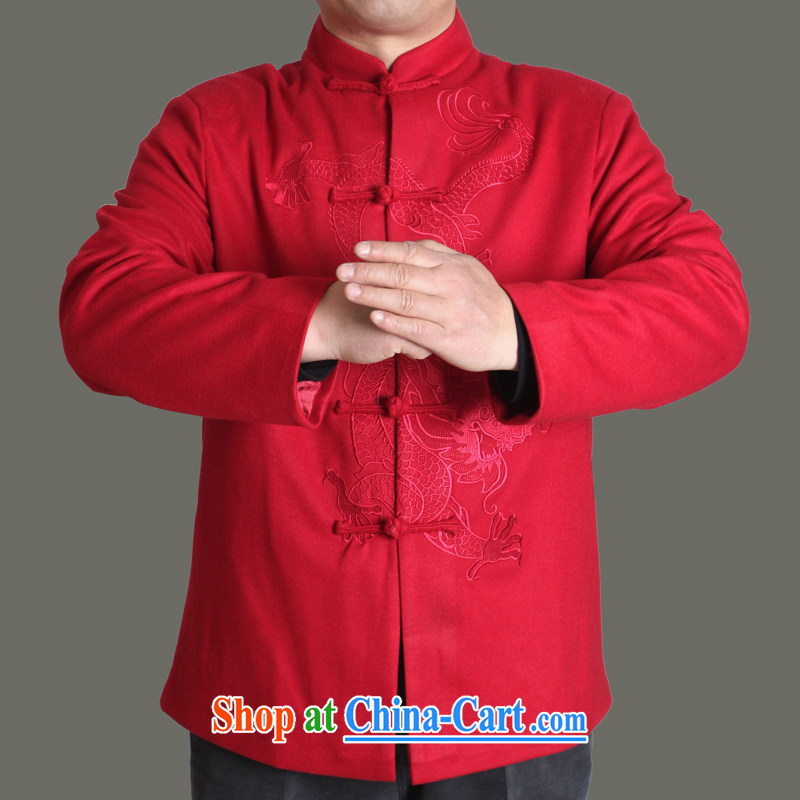 Adam 15 elderly fall_winter New Men Tang jackets sting Sau Lung solid color Chinese men's autumn older clothing father superior Chinese Y 717 red 190