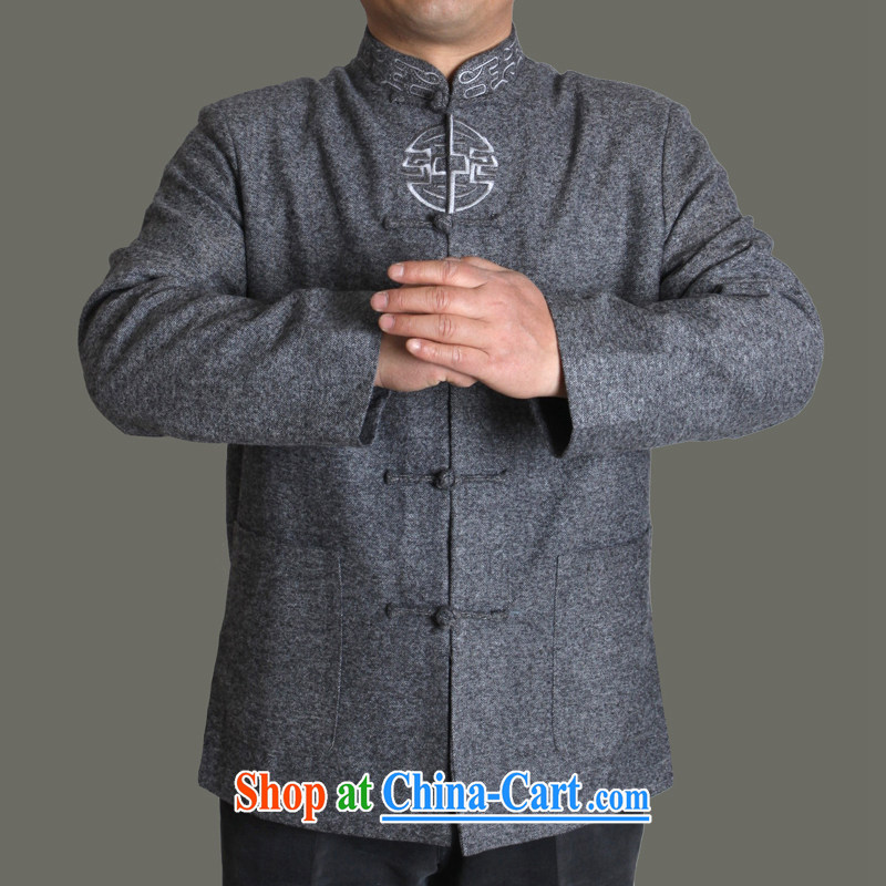 Adam's old 2015 autumn and winter new middle-aged and older men Tang replacing older people fall and winter men's jackets high quality embroidery Chinese male Y 723 gray 180