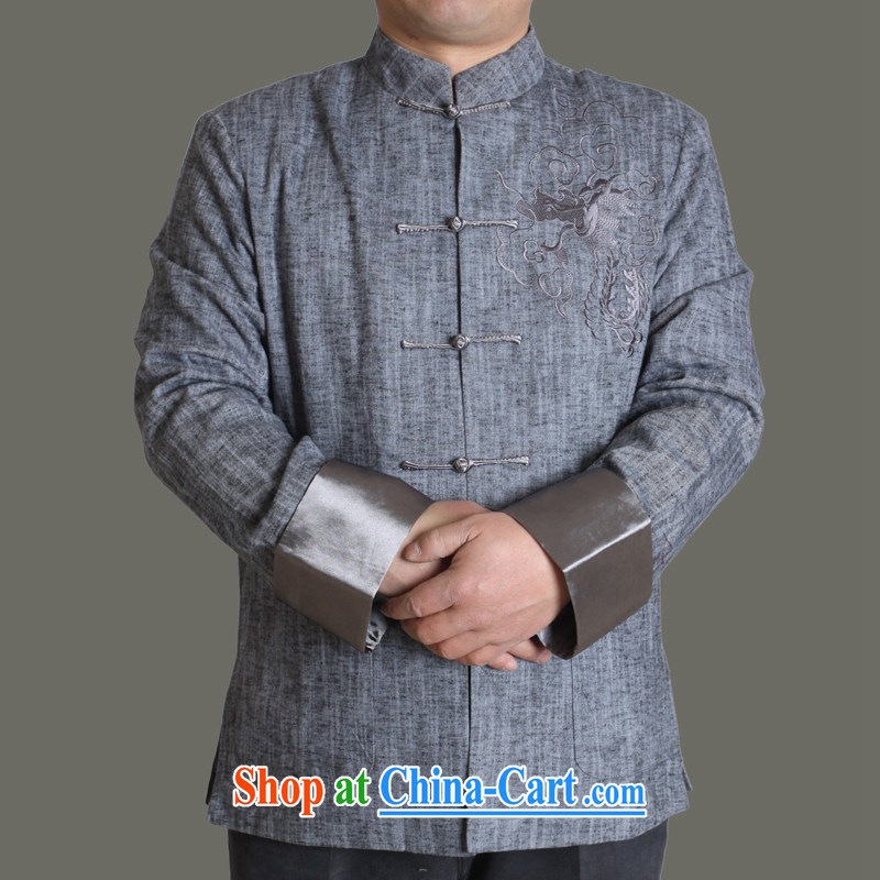 Adam's old spring and autumn 2015 new upscale men's cotton the Chinese Embroidery, older men and replacing Tang With Grandpa autumn solid color jacket Y 711 gray 190