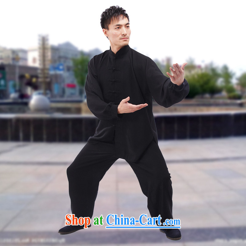 The ex-gratia package e-mail Adam 15 elderly spring and summer New Men's Tai Chi service package a solid color cotton Ma practitioners serving men with morning exercise clothing sweat-wicking breathable, cool black XXL_180