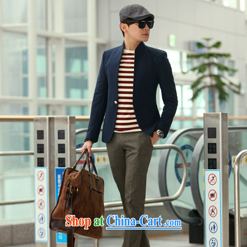 2014 spring New Men's suit jacket and casual beauty, blue collar smock 185_ _XXL_