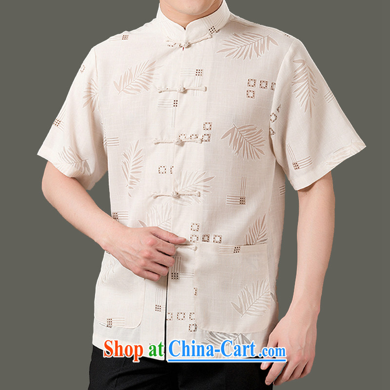 Old Adam and summer 15 new cotton mA short-sleeved men's clothing, older men and stylish beauty short-sleeved Chinese clothes Chinese national costume SH 1301 m yellow 175 code