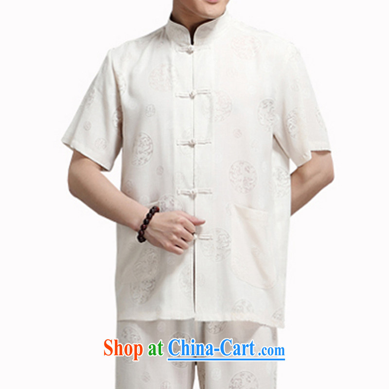 Burglary to package the 15 summer new, older men's summer father half sleeve round Lung men's cotton Ma short-sleeved Tang package with the national costume m yellow 180 code package