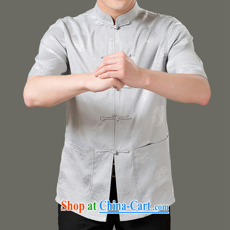 Adam's old Summer 2015 New Tang on the service men and elderly people in cultivating new short-sleeved Tang fitted T-shirt Jubilee 1000 older men and summer national costumes red 4 XL/190 T-shirt, old Adam, shopping on the Internet