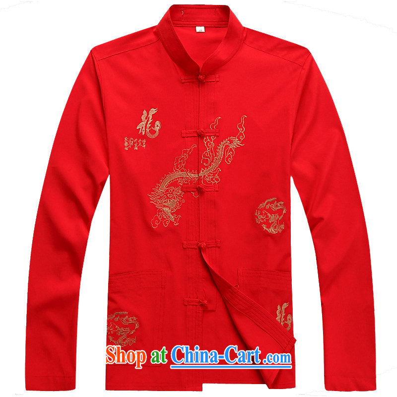 The Royal free Paul 2015 New Tang loading in the older men's long-sleeved Tang package with old life long-sleeved clothing Tang jackets package mail 2046 red_T-shirt 175