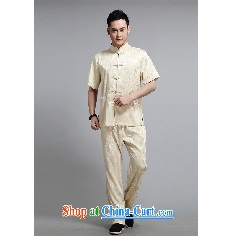 The Dili, Mr Rafael Hui, Mr Tang replacing men and a short-sleeved Tang with a short-sleeved T-shirt/kit double dragon fly happy Tang in older Chinese men DS 228 beige 190 /T-shirt