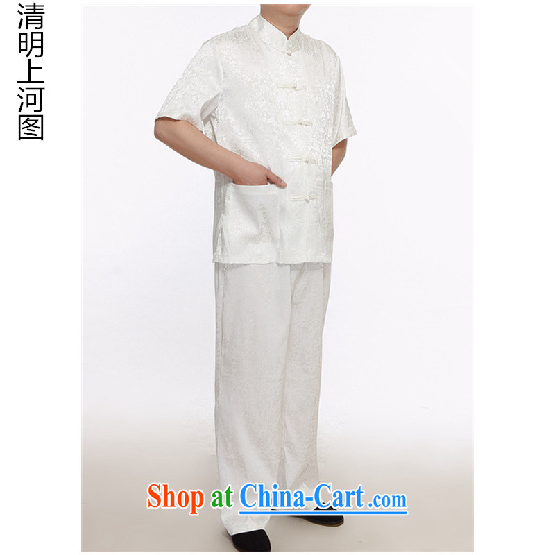 MR HENRY TANG Mount Kit 2015 men in older, Chinese men's short-sleeved Chinese Tang replacing Tang replace the older package men and white XXXXL 185
