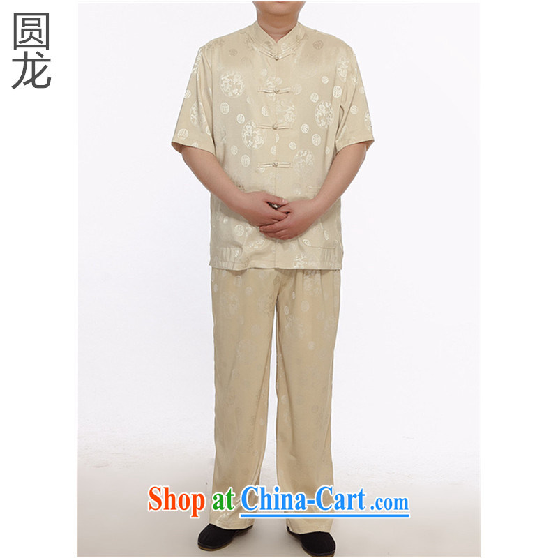 MR HENRY TANG Mount Kit 2015 summer men in older, Tang with relaxed version short sleeve with classical Chinese leisure Chinese male M yellow XL 170