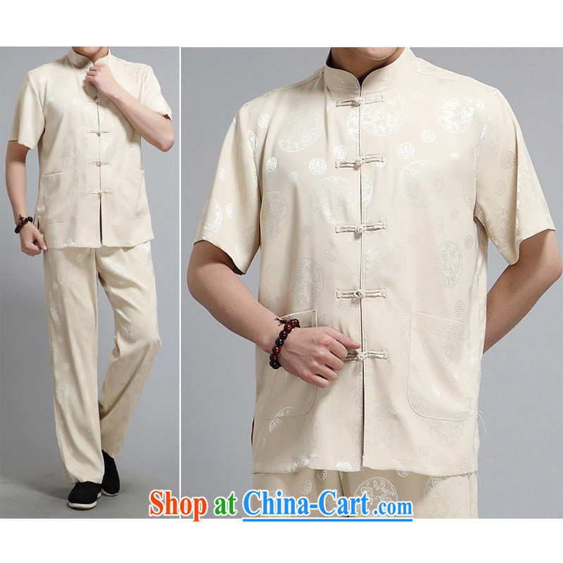 The Royal free Paul 2015 men's summer New Tang replace short-sleeved Tang is in the Men's older half sleeve Chinese men and a short-sleeved Tang package with the package, the beige 185/A