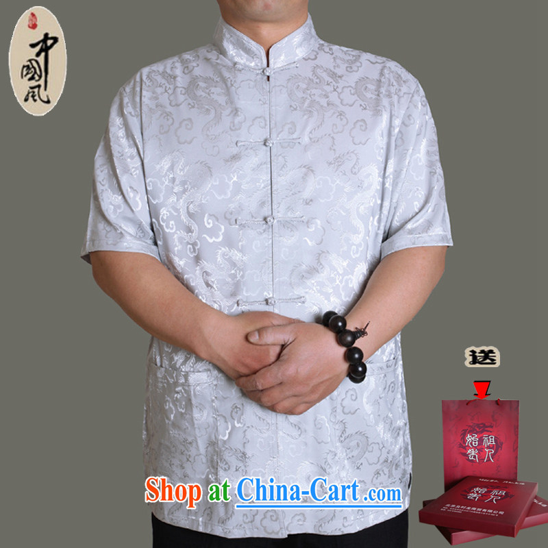 Huge benefit package mail summer 15 new upscale men's short-sleeve Chinese T-shirt, men's national costume father summer China wind male Y Y 0952 190 Gray_single T-shirt