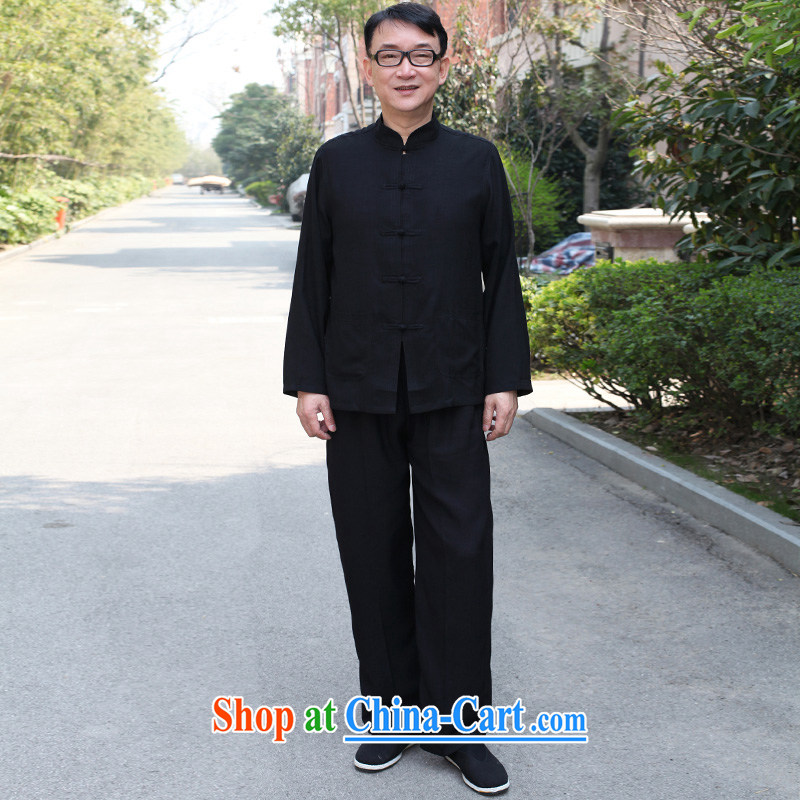 Consultations in accordance with his father with cotton the package China wind, older men's long-sleeved spring and summer leisure Chinese shirt men's father's day men's gifts black 170/L recommended weight 100 - 130 jack