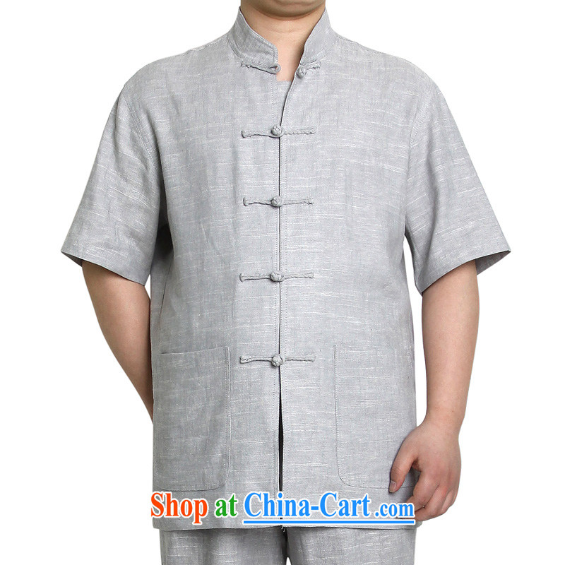 In accordance with the Prince summer 2015 new leisure cotton mA short-sleeved men's Tang in older Chinese package leisure national costumes, 1418 - blue gray - T-shirt 180/96 A