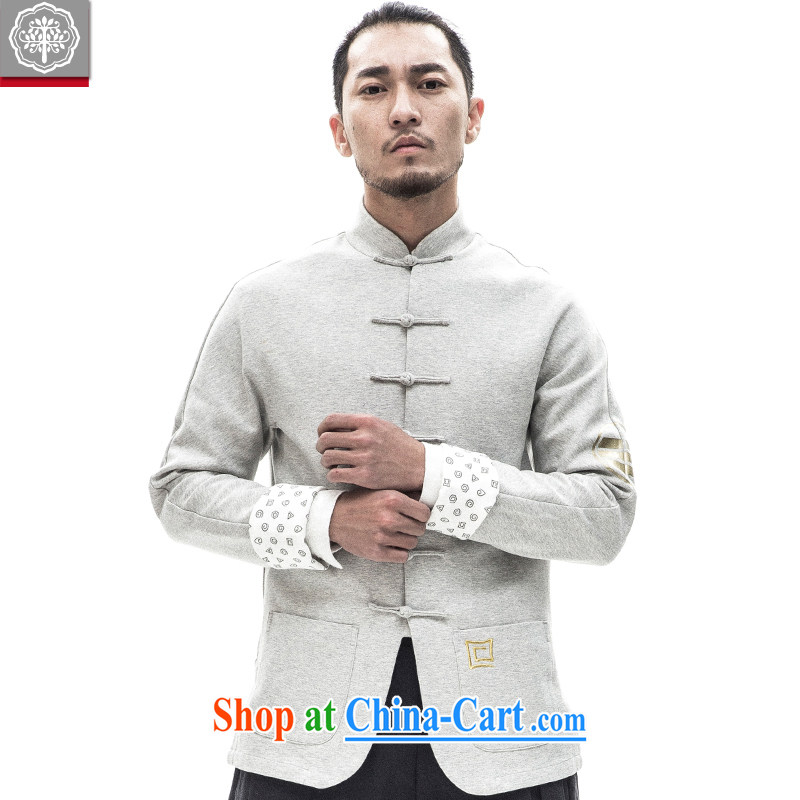 tree and Chinese wind improved Chinese men's long-sleeved jacket Chinese, for male-tie, served tea white XXXL