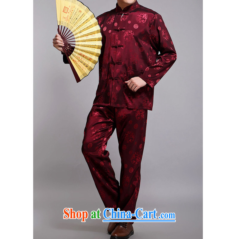 The Dili, Mr Rafael Hui, who earned the 2015 spring new Chinese men and elderly people in long-sleeved men's Chinese jacquard the Kowloon Chinese men and Chinese D 219 red 175/kit