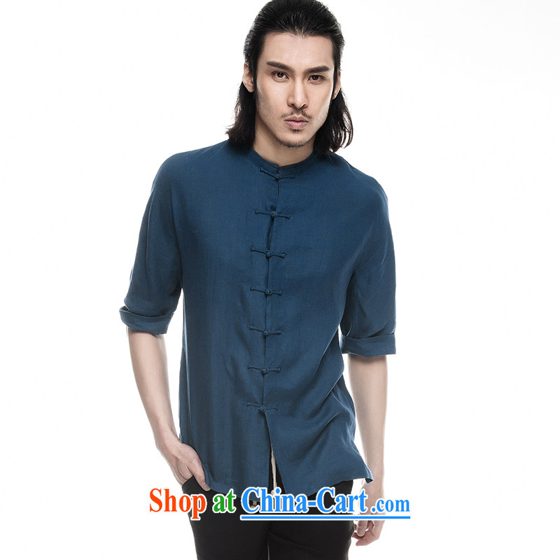 Fujing Qipai Tang China wind linen shirt summer 2014, men's stylish Chinese Han Ma leisure retro-tie Chinese short-sleeved T-shirt in T-shirt 319 sea blue XL