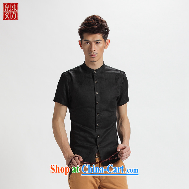 Oriental children 2014 short-sleeved men's leisure Youth Chinese China wind male and Han-shirt summer smock black jacquard 185 (3) XL