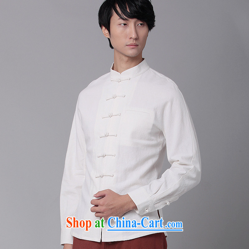 Fujing Qipai Tang China wind men's shirts national cotton Ma-tie, collar shirt leisure business Chinese shirt and replace the original innovation, National shirt 01,308 black XL