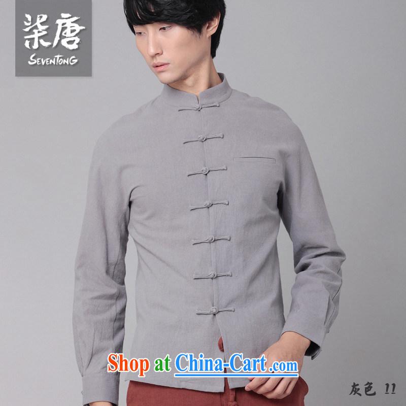 Fujing Qipai Tang China wind men's shirts national cotton Ma-tie, collar shirt leisure business Chinese shirt and replace the original innovation, National shirt 01,308 black XL, Fujing Qipai Tang (Design seventang), online shopping
