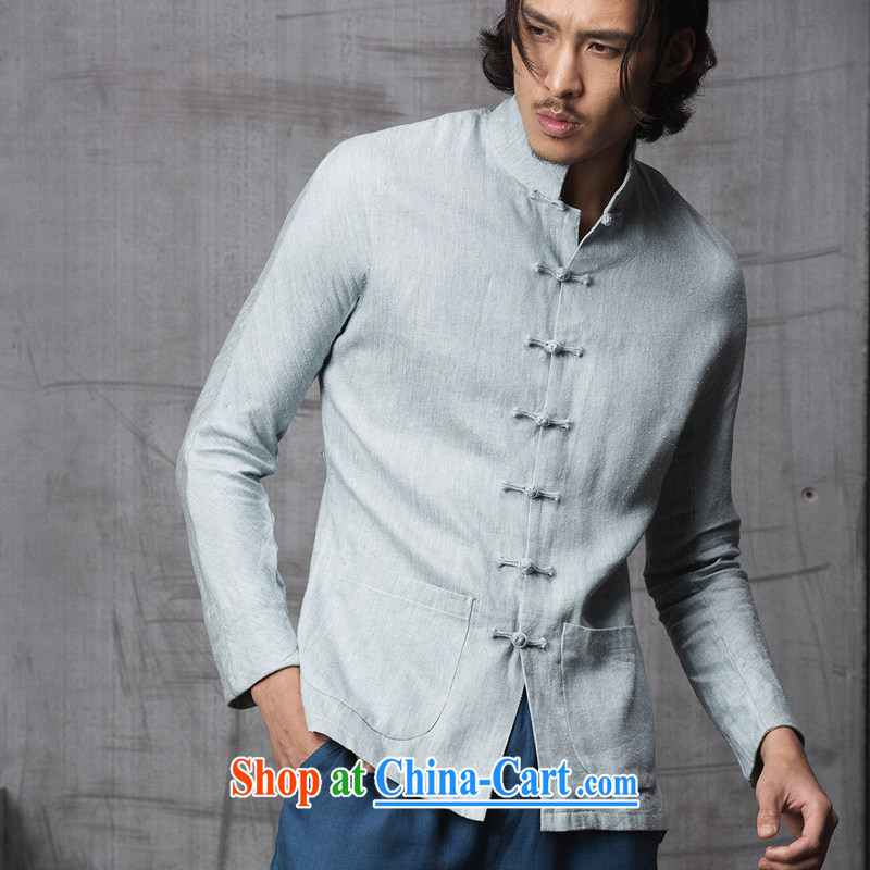 Fujing Qipai Tang China wind men's spring fashion Tang import silk linen fabrics original design Chinese, for the charge-back jacket high-end national costumes 1515 light blue jeans L