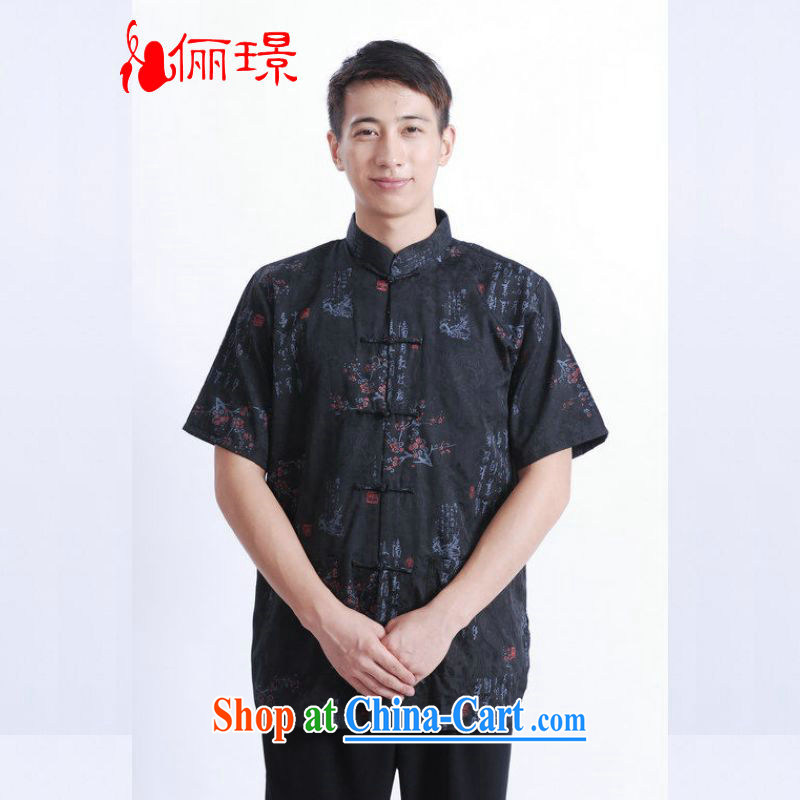 Miss Au resulted in older Chinese men and summer, cotton for stamp duty China wind Chinese men's short-sleeved larger male M 0022 black 3 XL _180 - 210 _ jack