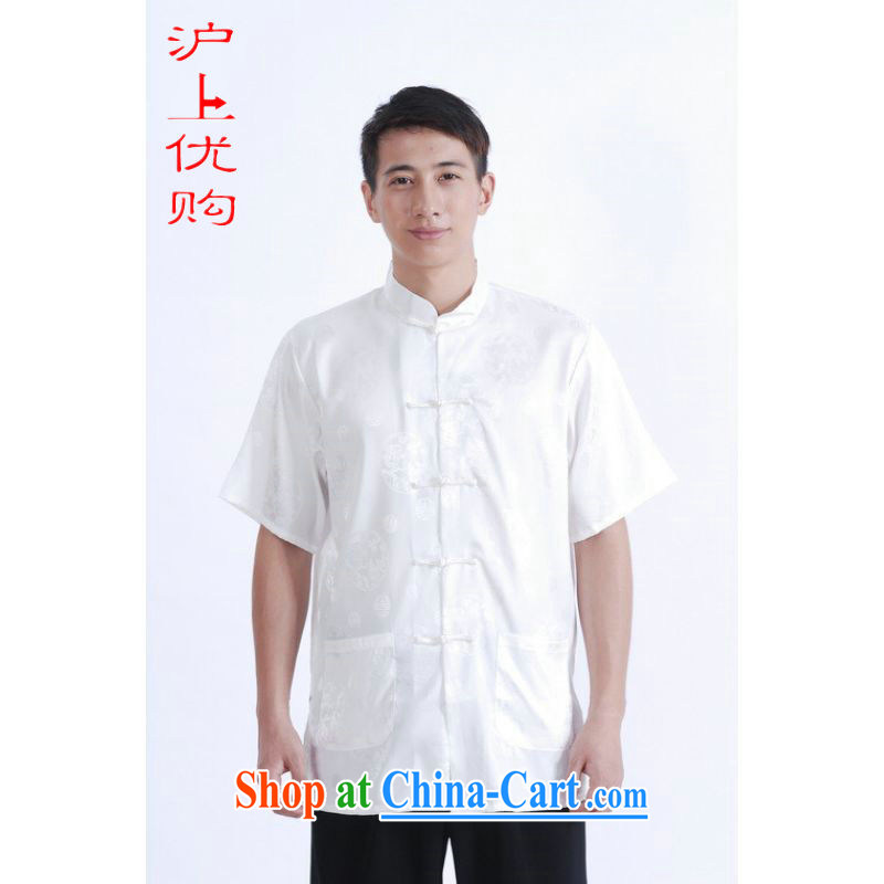Shanghai, optimize purchase middle-aged and older Chinese men and summer Chinese improved 9 has the Chinese men's short-sleeved larger male white XXXL
