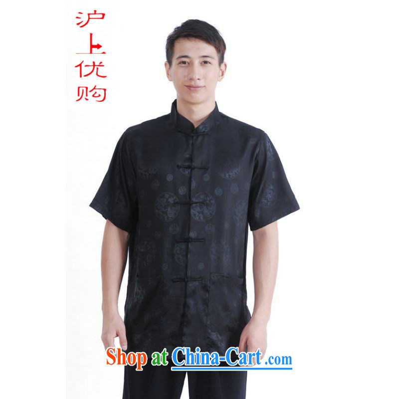 Shanghai, optimize purchase middle-aged and older Chinese men and summer Chinese improved Chinese men's short-sleeved larger male black XXXL
