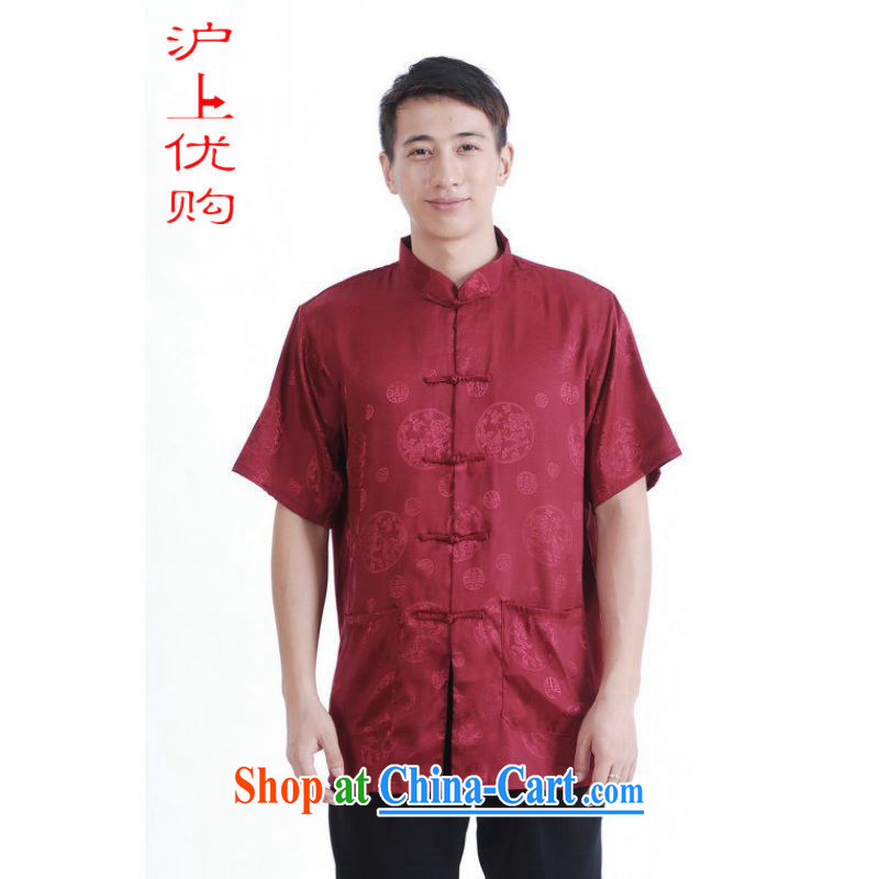 Shanghai, optimize purchase middle-aged and older Chinese men and summer Chinese improved 9 has the Chinese men's short-sleeved larger male Magenta XXXL recommendations 180 - 195 jack