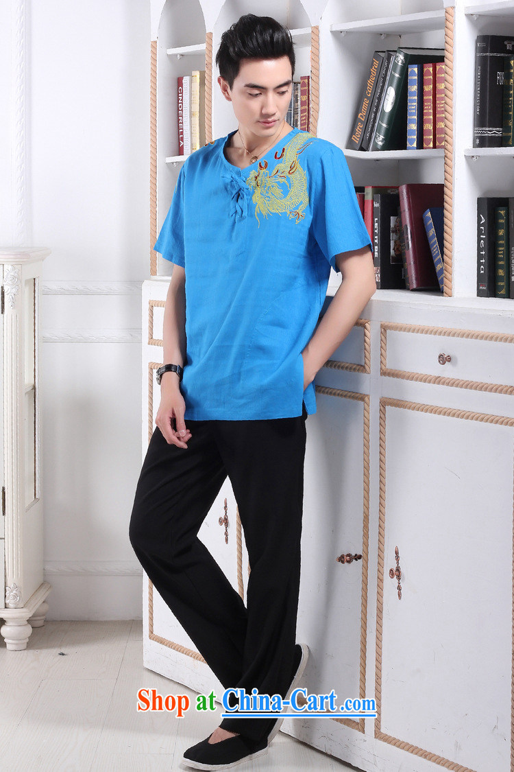 Jing An older Chinese men and summer round-collar linen embroidered Chinese Dragon Chinese men's short-sleeved larger male 2397 - 1 hidden cyan XXXL (recommendations 180 - 210 Jack pictures, price, brand platters! Elections are good character, the national distribution, so why buy now enjoy more preferential! Health