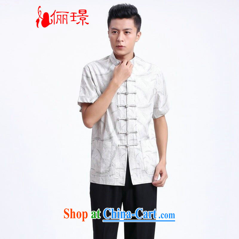 Jing An older Chinese men's Summer for the linen china wind Chinese men short-sleeve larger male 2372 - 2 white XXXL (180 - 210 jack